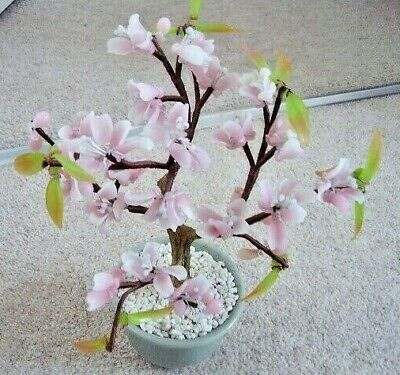 Collectable Chinese BONSAI glass flower tree  ornament