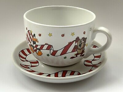Warner Brothers Large Mug/Cup W/Saucer Bugs Bunny, Tweety, Daffy Duck Christmas