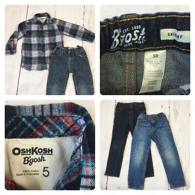 Boy Oshkosh 5 - 6 Years bundle x1 Shirt x3 Jeans Bgosh check designer