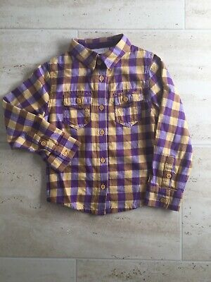 Lovely Boys Purple Checked Long Sleeved Shirt, Aged 4 Yrs, NEXT, Vgc