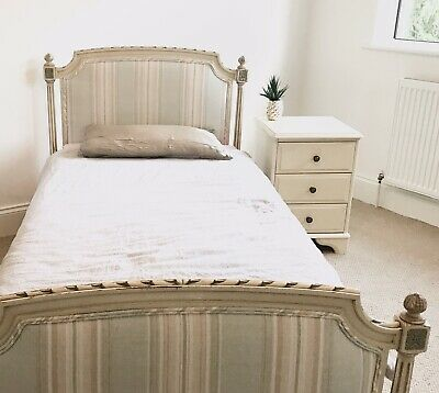 Antique French Louis XVI Single Bed Reupholstered With Laura Ashley Fabric.