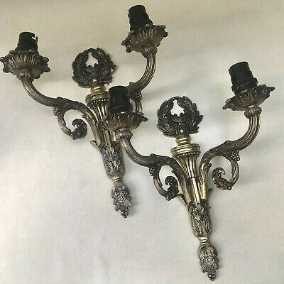 VINTAGE BRITISH 1950s PAIR OF BRASS  DOUBLE  ELECTRIC LIGHT WALL CANDLE SCONCES