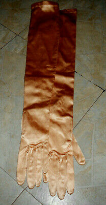 Long Vintage gold button Gloves by Superb Size m 22 inches long