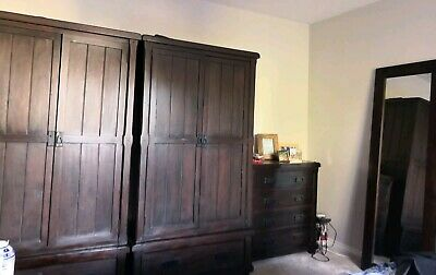 2x Wardrobes Oak Furniture Land Baku Dark Mango solid wood BKU017DARK