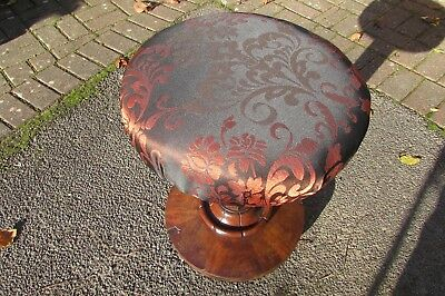 Antique victorian piano stool - revolving height adjustable  re upholstered