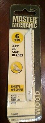 """New Master Mechanic 6TPI 3-1/2"""" Jigsaw Blades 2pack Wood Unopened MADE IN THE US"""