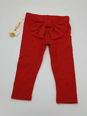 NWT Cat and Jack Baby Girl bow Red Cotton Stretch Knit Leggings Pants