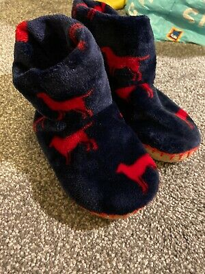 Hatley Boys Blue / Red Dog Slipper Boots - Size: 11-12 - Hardly Worn
