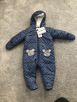 Bluezoo Baby Girls Snowsuit 6-9 Months Brand New With Tags Debenhams