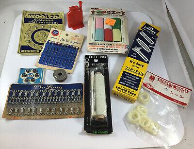 Vintage Sewing Lot  Notions inc Zip-Fix tool, Bobbin, Fasteners, Snaps all NEW
