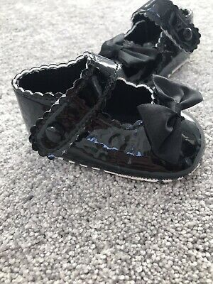 Baby Girl Black Patent Bows Shoes 0-6 Months