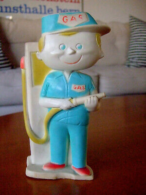 Vintage Alan Jay Clarolyte Squeeze Squeak Toy Rubber Gas Station Man Mid Century