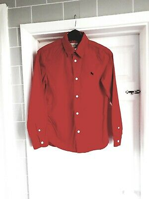 Boys H&m Red Long Sleeve Shirt Size 10yrs Navy motif on front