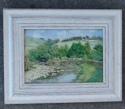 Antique early 20th century watercolor painting of a Scottish landscape