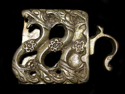 AMAZING POST Medieval Period SILVER BELT DRAGON BUCKLE+++