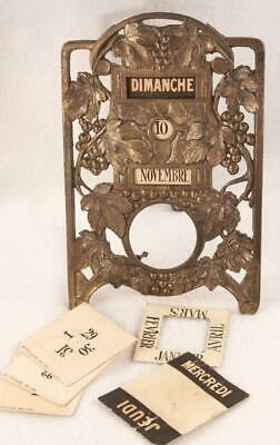Antique Art Nouveau Pocket Watch Stand Holder w/ Perpetual Calendar in French