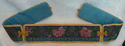 Antique Chinese Belt / Silk Floral Embroidery / Rare 1800'S Fine Asian Art / #1