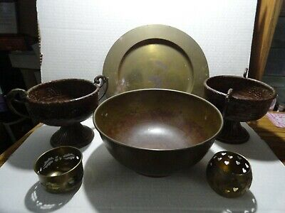 Lot Of 6 Brass Items - Large  Bowl , Plate  2 Incense Burners , 2 Large Cups  -