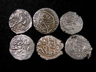 LOT OF 6 pcs. EARLY ISLAMIC OTTOMAN SILVER COINS+++BROAD VARIETY+++