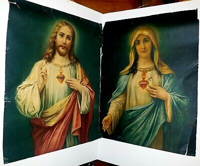 Pr Vintage Print Sacred Heart Of Jesus/Mary Immaculate Lithograph ORIG 16X12 USA
