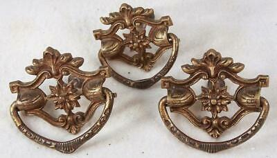 Set of 3 Solid Brass Highly Decorative Fancy Victorian Drawer Pulls