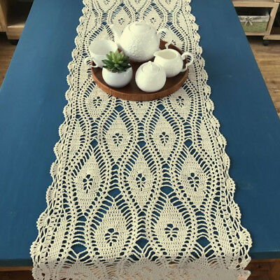Vintage Hand Crochet Lace Table Runner Dresser Scarf Rectangle Doily 15x35inch