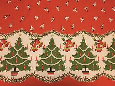 """Large Vintage Mid Century Cotton Christmas Tablecloth Trees Bells 84""""x 68"""""""