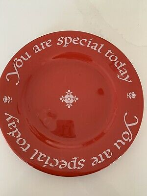 "WAECHTERSBACH Plate ""You Are Special Today"" Cherry Red Platter No Box"