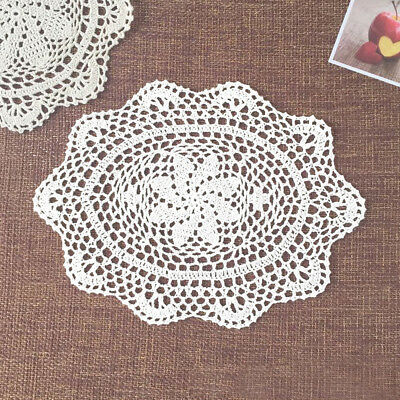 "4Pcs/Lot White Vintage Hand Crochet Lace Doilies Oval Placemats Wedding 10""x14"""
