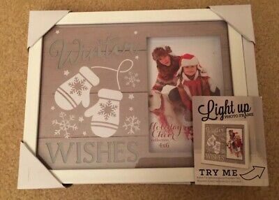 Light Up Photo Frame Winter Wishes 4x6 Christmas Picture NIB White Elsewhere $15