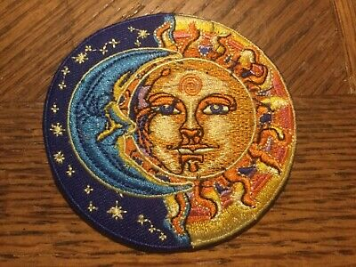 "Sun and Moon Embroidered Patch 3"" Diameter  sew or Iron On"