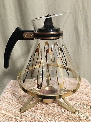 MCM DAVID DOUGLAS 8 Cup/44 oz Atomic Gold Astor Coffee Carafe Pot w/Warmer Stand