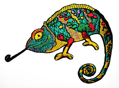 Colorful Salamander Gecko Chameleon Lizard Applique Embroidered Iron on Patch