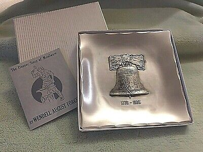 Wendall August Forge Liberty Bell Small Tray, 1776-1976 Commemorative with Box