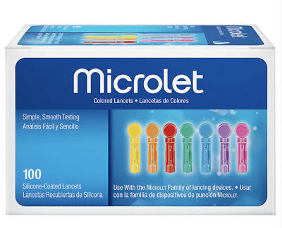 Ascensia Bayer MICROLET Colored Lancets -100 Count EXP 10-2023