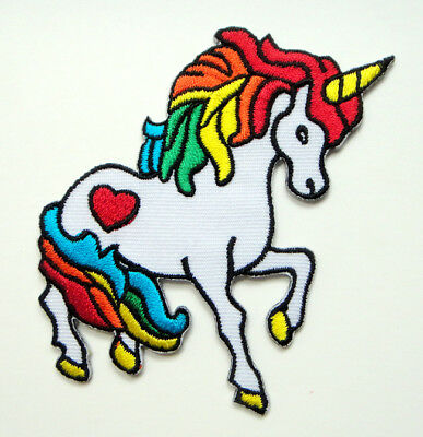 Colorful Unicorn Heart Myth Tale Jeans Jacket Applique Embroidered Iron on Patch