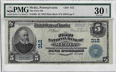 **Rare** $5 1902 First National Bank Of Media, Pa Pmg 30 Epq