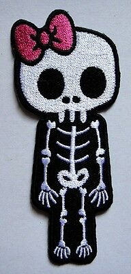 #38 Cute Pink Bow Crossbones Skull Embroidered Iron on Patch Free Shipping