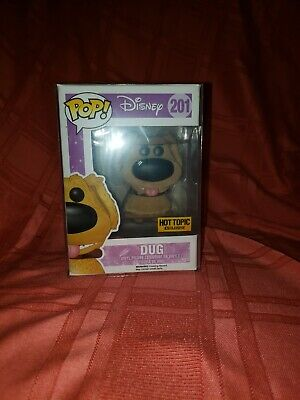Funko Pop Disney Up! Dug Flocked Hot Topic #201 Vaulted W/Protector