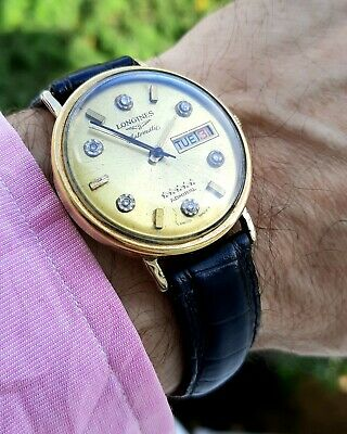 Longines Admiral 5 Star 10K Gold Filled Diamond Gold Dial Mens Automatic Watch