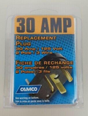 Camco 30 AMP Replacement Plug 2 Pole 3 Wire 30 Amp 125 Volt