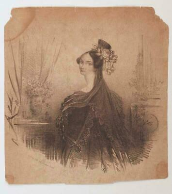 Antique 19th Century Engraving from a Book London, England Elegant Woman