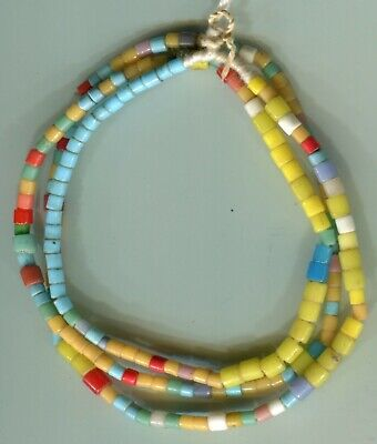 African Trade beads Vintage Bohemian Czech glass old mixed color tile beads