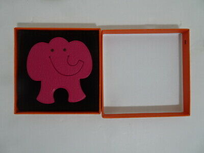 """Hermes """"PIKABOOK"""" Pink Elephant Bookmark with Case and Box NEW"""