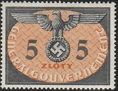 Stamp Germany Poland General Gov't Official Mi 15 Sc NO15 1940 WW2 War Era MH