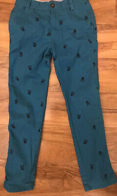 Mini Boden Turquoise Trousers With Navy Print Skulls  Age 8 Years