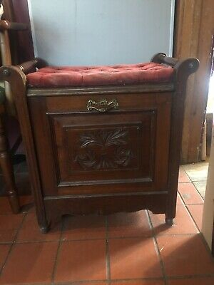 Antique  Vintage Arts & Crafts Style  Drop Front Storage Piano Stool