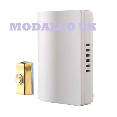 Byron 765S Wired Wall-Mounted Doorbell Kit with Bell Push Brass  UK-SZCN