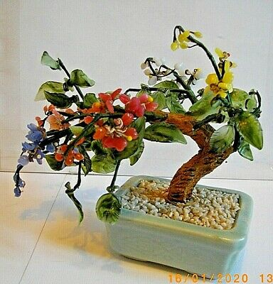 Vintage Asian Chinese Glass Bonsai Blossom Tree Rectangle Green Ceramic Pot