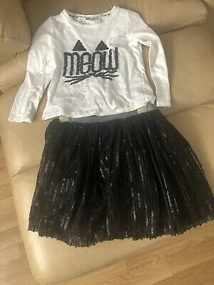 Matalan Girls 2 Piece Outfit, L/s Top Meow& Black Sequinned Skirt, Age 7Y VGC